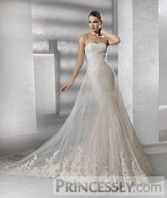 Mermaid Strapless Sweetheart Appliques Drop Waist Mesh Chapel Wedding Dress