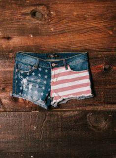 Blue Jean Denim Shorts w/ American Flag Print,  kinda like these