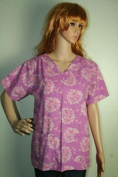 UA Scrubs purple pink flamingo print short sleeve 2 pocket scrub top sz S #UniformAdvantage