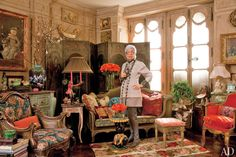 Iris Barrel Apfel—fashion muse, decorator, and cofounder of Old World Weavers—wearing Chado Ralph Rucci and jewelry of her own design in the New York City apartment she shares with her husband, Carl   archdigest.com