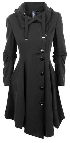 Black coat. Sort of reminds me of the one Jennifer Lawrence wore in Silver Linings Playbook - wonder if it's a corset back?