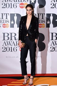 Charlotte Wiggins in a in a DSquared2 suit. Brit Awards, February 24 2016