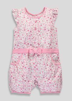 b4cedd59a291 Girls Floral Print Romper (Tiny Baby-18mths) - Matalan