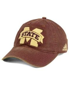 adidas Mississippi State Bulldogs Over Dye Slouch Cap - Red Adjustable