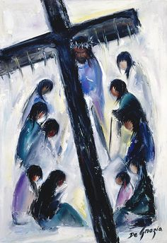 While living in Italy as a small child DeGrazia was exposed to the art of the Catholic Church. Although he never formally participated in church life, this particular series of paintings reflect a deep reverence for all things religious. Instead of the traditional 14 Stations of the Cross, DeGrazia's collection culminates with the resurrection. Station VIII Jesus speaks to the daughters of Jerusalem.