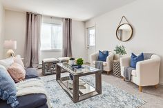 Traditional and Eclectic styling for a 2 bedroom condo Living room. Furniture, Decor, Design, Accessories, Grey, Neutral, pink, blue, texture, pillows, feminine