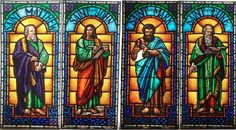 Four Stained Glass Windows with Saints #7847
