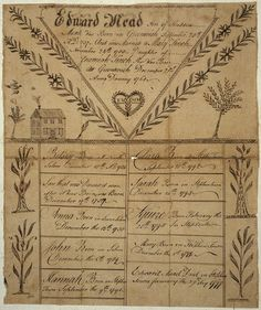 Illustrated family record (Fraktur) found in Revolutionary War Pension and Bounty-Land-Warrant Application File for Edward Mead, Connecticut. 1800 - ca. Cocoa, German Folk, Beautiful Handwriting, American Revolutionary War, Family Illustration, Pennsylvania Dutch, Illuminated Manuscript, Paper Background, Family History