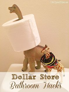 Dollar Store hacks to use in the bathroom to stay organized! Easy tips for cheap ways to organize your kid's and your bathroom.