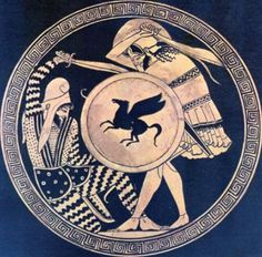 Greek hoplite and Persian warrior fighting each other. Depiction in ancient kylix. 5th c. B.C. National Archaeological Museum of Athens