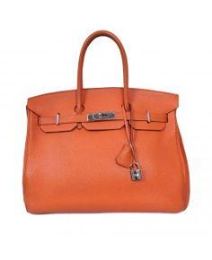 Bolsa Hermès Birkin 35 Couro Togo Laranja