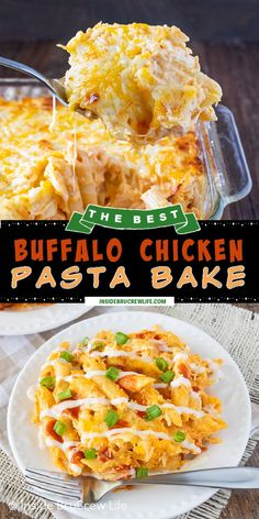 Buffalo Chicken Pasta - pasta and buffalo chicken dip topped with lots of cheese makes an amazing casserole dinner. Make this easy recipe for busy nights or game days. Quick Pasta Recipes, Easy Chicken Dinner Recipes, Easy Meals, Cooking Recipes, Chicken Ideas, Jam Recipes, Weeknight Meals, Buffalo Chicken Pasta Bake Recipe, Buffalo Chicken Recipes