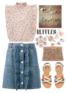 """Ruffled Tops"" by mmk2k ❤ liked on Polyvore featuring Michael Kors, Ganni, J.Crew, Valentino, Allurez, tops, top, ruffles and ruffledtops"