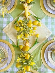 Dining Delight: Mother's Day Lemon Themed Tablescape Yellow Dinner Plates, Yellow Bowls, Tea Party Table, Dinner Table, Mothers Day Dinner, Lemon Kitchen, Summer Design, Mothers Day Crafts, Deco Table