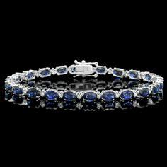 Ct Oval Cut Blue Sapphire Women's Tennis Bracelet White Gold Over Sapphire Bracelet, Diamond Bracelets, Ankle Bracelets, Sterling Silver Bracelets, Jewelry Bracelets, Bangles, Jewellery, Gold Jewelry, Silver Diamonds