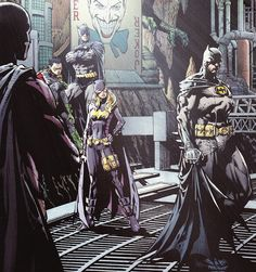 The Bat family; Tim Drake, Damian Wayne, Dick Grayson, Stephanie Brown, and Bruce Wayne.