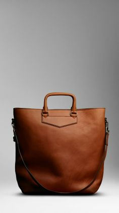 Burberry men large washed leather tote