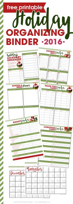Use the free 2016 Holiday Planner Organizing Binder to enjoy a stress-free holiday season with family and friend. Plan, prepare and execute a fantastic holiday season with the free planning printable.