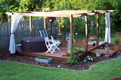 floating deck | floating deck floating deck and pergola with curtains landscaping and ...
