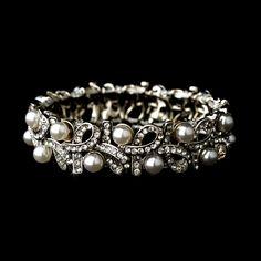 White Pearl and Rhinestone Bridal Bracelet