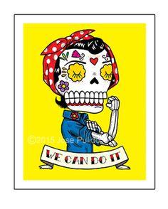 Rosie the Riveter Inspired Calavera Die Cut Vinyl Sticker Sugar Skull - Day of the Dead - Weather Proof Decal Sugar Skull Tattoos, Sugar Skulls, Day Of The Dead Art, Rosie The Riveter, Illustration, Ink Pen Drawings, Mexican Folk Art, Skull Art, Screen Printing