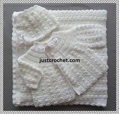 Résultat d'images pour Baby Sailor Layette Crochet Free Patterns Crochet Baby Cardigan Free Pattern, Layette Pattern, Crochet Baby Jacket, Crochet Baby Sweaters, Baby Sweater Patterns, Crochet Baby Clothes, Newborn Crochet, Baby Knitting Patterns, Baby Patterns