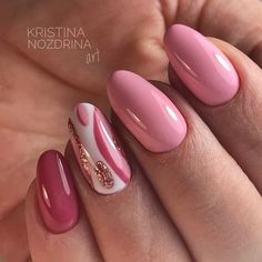 Nail art Christmas - the festive spirit on the nails. Over 70 creative ideas and tutorials - My Nails Pink Gel Nails, Pink Nail Art, Hot Nails, Fancy Nails, Nail Manicure, Hair And Nails, Glitter Manicure, Manicure Ideas, Stylish Nails