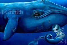 "Big Blue Whale art print by Jasmine Becket-Griffith 10.75""x7.25""  mermaid fairy ocean sea marine on Etsy, $13.99"