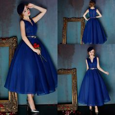 Tea Length Royal Blue Tulle Evening Dresses A Line V Neck Zipper Elegant High Quality Prom Gown Drapes Occasion Dress Selling Now Wwl Maxi Dresses Dress From Sarabridal, $123.62| Dhgate.Com