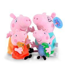 원래 브랜드 Peppa 돼지 봉제 장난감 19/30 센치메터 Peppa 조지 돼지 가족 파티 드레스 인형 여자 어린이 선물 동물 봉제 장난감