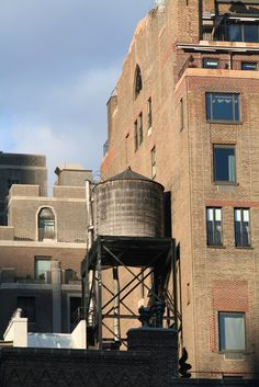 NYC. Old water tower on an old building