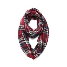 Wool Plaid Infinity Scarf - Red - THE LUCKY KNOT ($35) via Polyvore