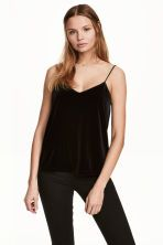 Strappy velour top - Black - Ladies | H&M GB 1