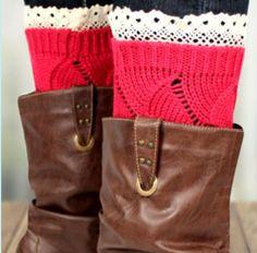 The Rustic Shop - Fuscia Pink with Lace Edge Crochet Boot Cuffs, $14.99 http://www.therusticshop.com/?store=PrairieRoses