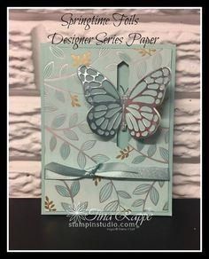 Watch it Wednesday: Colored Springtime Foils Butterfly Pop Through Card - Stampin' Studio Butterfly Template, Butterfly Cards, Crown Template, Heart Template, Flower Template, Fancy Fold Cards, Folded Cards, Stampin Up Karten, Spinner Card