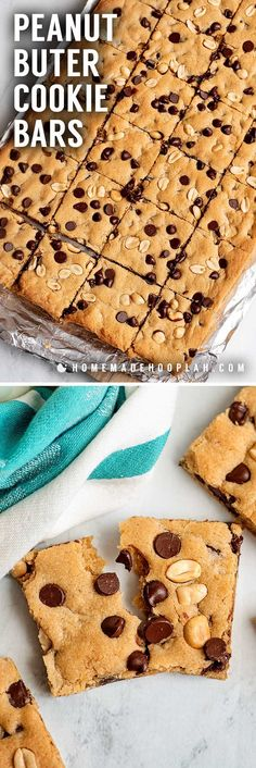 Peanut Butter Cookie Bars! These easy and foolproof cookie bars pack a ton of creamy peanut butter flavor and can be customized with bits of chocolate, candy, or peanuts. Best Homemade Cookie Recipe, Delicious Cookie Recipes, Best Dessert Recipes, Yummy Cookies, Easy Desserts, Keto Desserts, Nut Recipes, Brownie Recipes, Sweet Recipes
