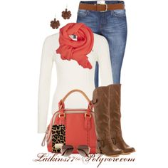 """""""Salmon and Brown"""" by latkins77 on Polyvore"""