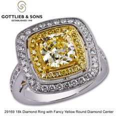 Huge Fancy Yellow diamond ring made in Yellow & White gold! Be ready for a lot of attention with this stunning piece of yellow diamond art on you hand! Call your Gottlieb & Sons jewelry dealer to see how amazing this ring looks on your hand! Yellow Diamond Rings, Diamond Art, Right Hand Rings, Designer Engagement Rings, Sons, Fine Jewelry, Take That, White Gold, Pendants