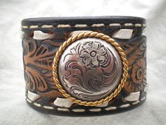 Brown Tooled Leather Cuff Bracelet by JimbosTexasVintage on Etsy, $20.00