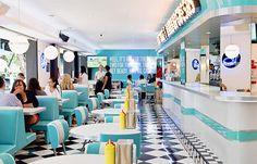 Home Decorators Collection Vanity Key: 2042334525 Restaurant Vintage, Vintage Diner, Cafe Restaurant, Restaurant Design, Café Retro, Retro Cafe, Retro Diner, 1950s Diner, Bakery Interior