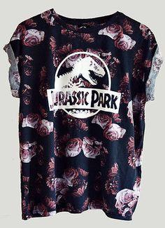 JURASSIC-PARK-Top-Tank-Crew-Neck-Shirt-Vintage-Retro-Movie-Floral-ROSES-T-Shirt