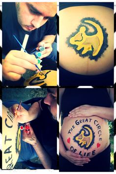 Lion projects baby boy belly painting- from start to finish  #m+1 #DIY