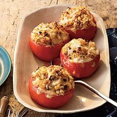 These tomatoes are stuffed full with super healthy quinoa, sweet fresh corn, pobalno chiles, and lots of shredded cheese. Fresh lime juice adds a burst of citrus freshness. It's a delicious side or meatless main.
