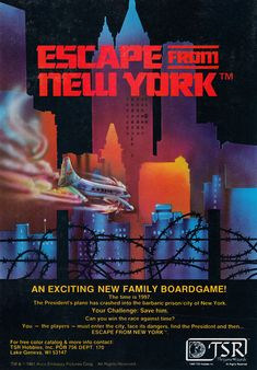 """The time is Escape From New York the game, by David ""Zeb"" Cook and Harold Johnson, TSR, 1981 (ad in Dragon magazine No June Space Travel, Time Travel, Learning Logo, Valley Girls, Futuristic Design, Photo Archive, Retro, I Movie, Prison"