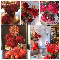 Chinese Wedding Decor, Oriental Wedding, Chinese New Year Decorations, New Years Decorations, Chinese New Year Flower, Chinese New Year Design, Chinese Birthday, Chinese Theme, Wedding Table Centerpieces