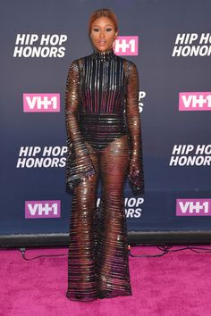 Eve Jumpsuit - Eve put on a daring display in a sheer, striped jumpsuit by Michael Halpern at the VH1 Hip Hop Honors.