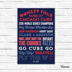 d94079a1cf Chicago Cubs Art - Canvas or Poster - 2016 WORLD SERIES CHAMPIONS Western  Michigan