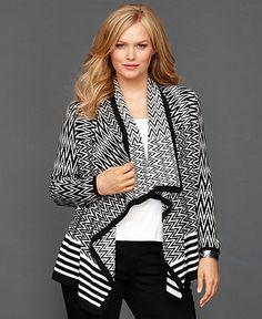 INC International Concepts Plus Size Sweater, Draped Zigzag-Knit Cardigan - Plus Sizes - Macy's