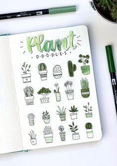 Plant doodles by ig @ dutch_dots.Plant doodles to decorate your bullet journalEasy Bullet Journal Ideas To Well Organize & Accelerate Your Ambitious GoalsThis is a massive list of bullet journal doodle tutorials to give you ideas and inspiration for Bullet Journal Inspo, Bullet Journal Headers, Bullet Journal Banner, Bullet Journal Notebook, Bullet Journal Aesthetic, Bullet Journal Themes, Bullet Journals, Bullet Journal Doodles Ideas, Dotted Bullet Journal