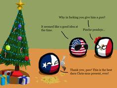 """""""Polandball Advent Calendar 2014 - Day 2 - Shiny 'Toy' Guns"""" ( State of Texas, USA, Mexico ) by polandballmod #polandball #countryball #flagball"""